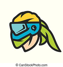 Paintball mask sign - Player in a protective mask Isolated...