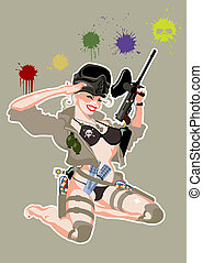 paintball pin-up in retro style Available EPS-8 vector...