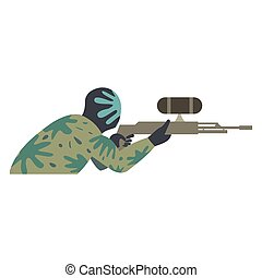 Paintball player flat icon