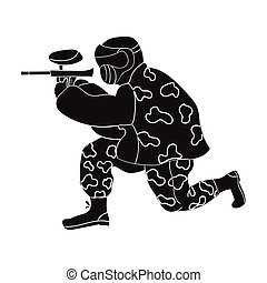 Paintball player icon in black style isolated on white background. Paintball symbol stock vector illustration.