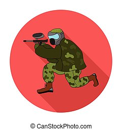Paintball player icon in flat style isolated on white background. Paintball symbol stock vector illustration.