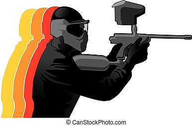 Paintball player in black uniform