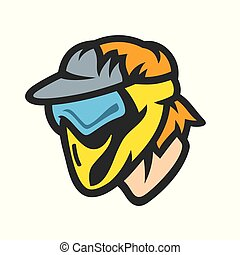 Paintball player in mask vector sign - Player in a...