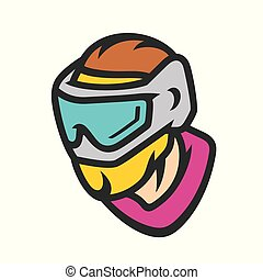 Paintball player in mask vector sign