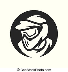 Paintball player in mask vector simple silhouette Illustration.