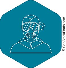 Paintball player in protective mask icon