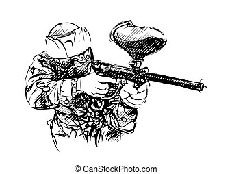 Paintball player - Paintball player vector illustration
