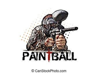 Paintball player vector illustration