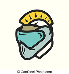 Paintball player. Vector Illustration. - Mohawk head in mask...