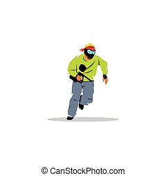 Paintball player. Vector Illustration.