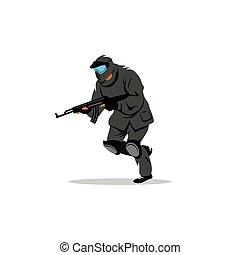Paintball player. Vector Illustration.