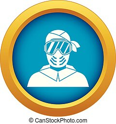 Paintball player wearing protective mask icon blue vector isolated