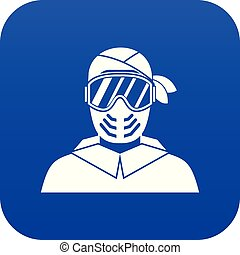 Paintball player wearing protective mask icon digital blue
