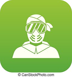 Paintball player wearing protective mask icon digital green