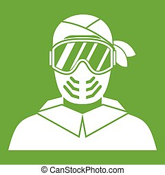 Paintball player wearing protective mask icon green