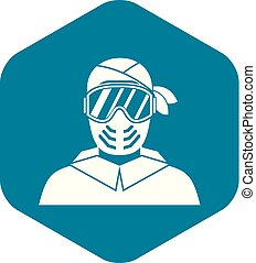 Paintball player wearing protective mask icon