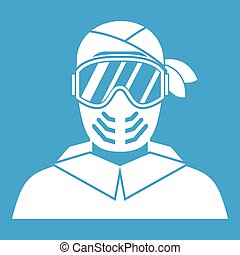 Paintball player wearing protective mask icon white