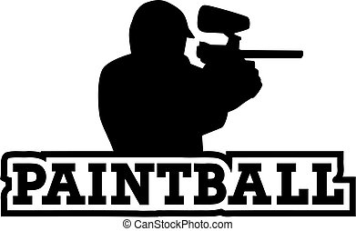 Paintball player with word