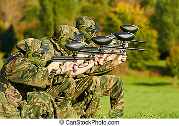 paintball players team aiming markers - paintball extreme...