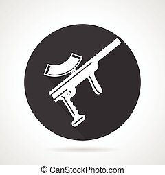 Paintball rifle black round vector icon