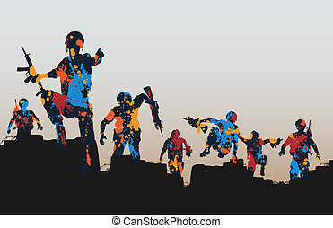Editable vector illustration of paint splattered armed soldiers charging forward