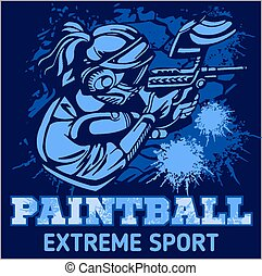 Paintball Team - vector emblem, extreme sport