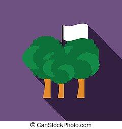Paintball team flag icon, flat style