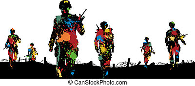 Paintball troops - Editable vector illustration of paint...