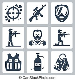 Paintball vector icons set