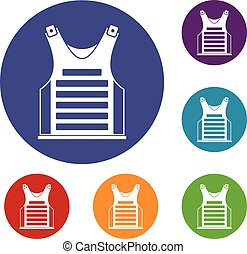 Paintball vest icons set