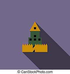 Paintball wall icon, flat style