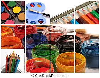 Collage pictures of paints, pencils and brushes