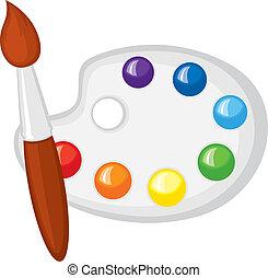 paintbrush, 同时,, 调色板, 在中, 涂描