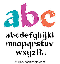 Paintbrush alphabet - Vector illustration of brush alphabet