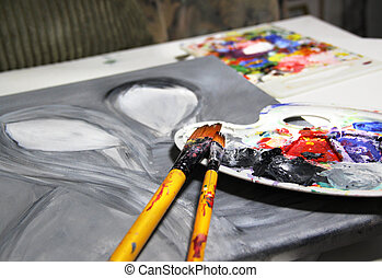Paintbrush and beautiful painting with pair in love