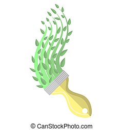 Paintbrush and Green Paint. Spring Time Concept. Growth Plant with Green Leaves.