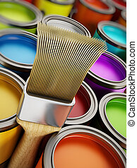 Paintbrush and paint cans