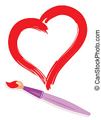 paintbrush and painted heart - Paintbrush and drew red...