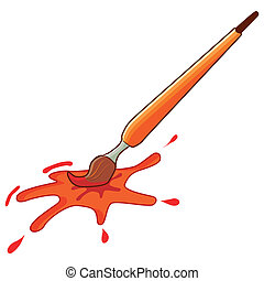 Paintbrush with splat of color, vector illustration