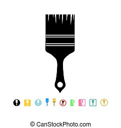 Paintbrush icon in flat style isolated on white background