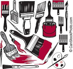 Paintbrush Collection - Clip art collection of various paint...