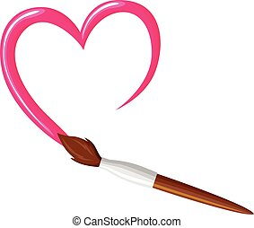 Paintbrush draw heart