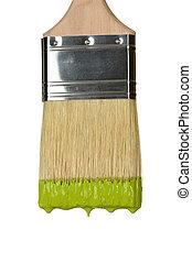 Paintbrush Dripping Green Paint