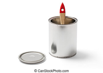 Paintbrush in an Open Tin Can with Clipping Path