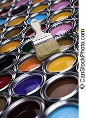 Paintbrush on cans with color - Colorful paint cans with ...