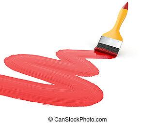 Paintbrush on white isolated background.