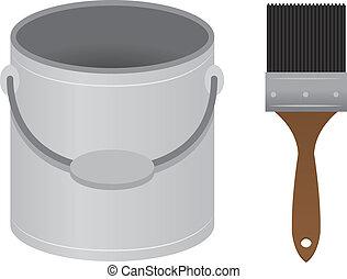 Paintbrush Paint Bucket  - Patin brush and paint bucket
