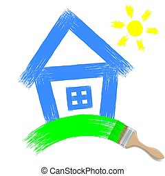 paintbrush painting a house on a white background