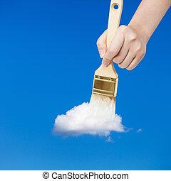 paintbrush paints white little cloud in blue sky