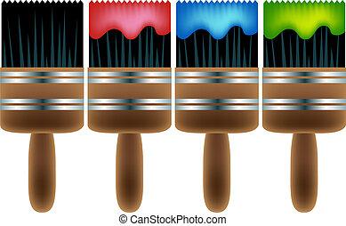 Paintbrush Set isolated on a white background.